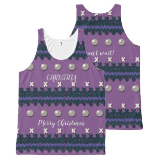 Purple Faux Knitted Ugly Christmas Design All-Over-Print Tank Top