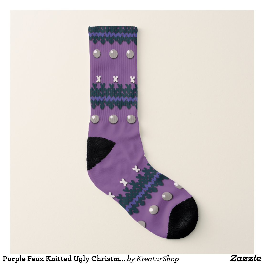 Purple Faux Knitted Ugly Christmas Design