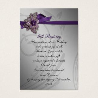 Purple FAUX ribbon vintage brooch Wedding Business Card