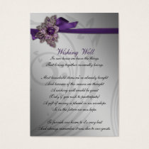 Purple FAUX ribbon vintage brooch Wedding Business Card