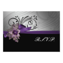 Purple FAUX ribbon vintage brooch Wedding Card