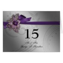 Purple FAUX ribbon vintage brooch Wedding Card