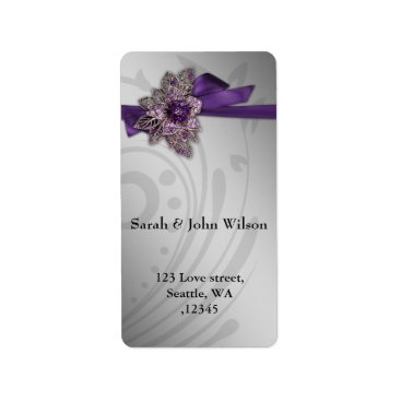Purple FAUX ribbon vintage brooch Wedding Label