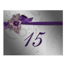 Purple FAUX ribbon vintage brooch Wedding Postcard