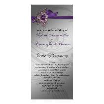 Purple FAUX ribbon vintage brooch Wedding Rack Card