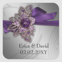 Purple FAUX ribbon vintage brooch Wedding Square Sticker