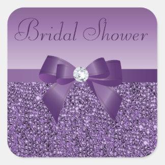 Purple Faux Sequins Bow & Bling Bridal Shower Square Sticker