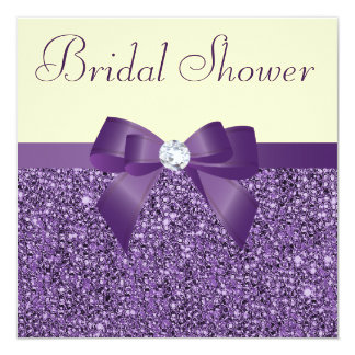 Purple Faux Sequins Bow Diamond Bridal Shower Card
