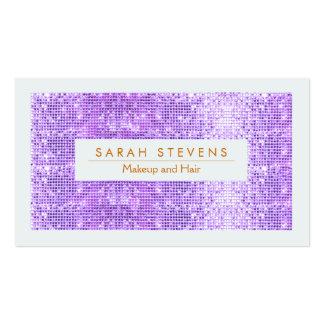 Purple FAUX Sequins Makeup and Hair Salon Business Card