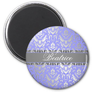 Purple Faux Shimmer Silver Damask with Your Name 2 Inch Round Magnet