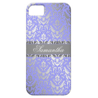 Purple Faux Shimmer Silver Damask with Your Name iPhone 5 Cases