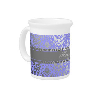 Purple Faux Shimmer Silver Damask with Your Name Pitcher