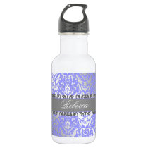 Purple Faux Shimmer Silver Damask with Your Name Stainless Steel Water Bottle