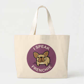 Purple Fawn I Speak Frenchie Large Tote Bag