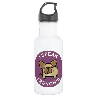 Purple Fawn I Speak Frenchie Stainless Steel Water Bottle