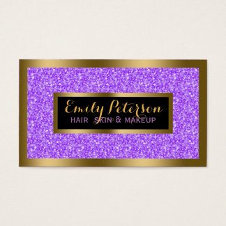 Purple Fax Glitter Gold Accents Makeup Business Card