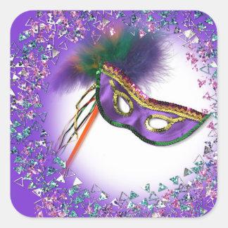 Purple Feather Mask Masquerade Party Square Sticker