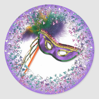 Purple Feather Mask Masquerade Party Round Sticker