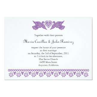 Purple Felicidades Love Birds Papel Picado Custom Invite