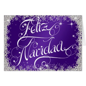 Purple Feliz Navidad Typography PERSONALIZED Card