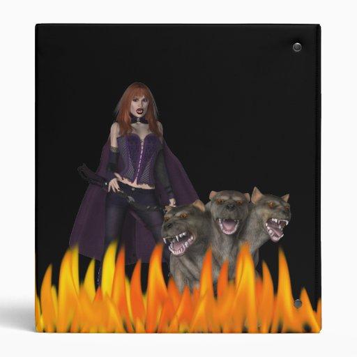 Purple Female Vampire Three head dog in Fire 3 Ring Binder