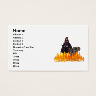 Purple Female Vampire Three head dog in Fire Business Card