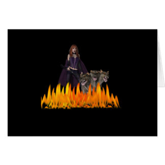 Purple Female Vampire Three head dog in Fire Card