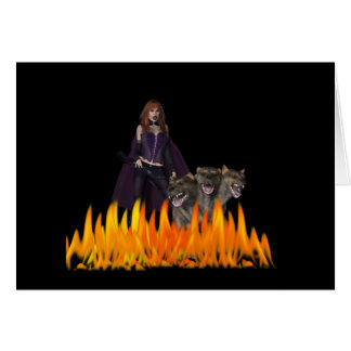 Purple Female Vampire Three head dog in Fire Greeting Cards