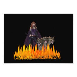 "Purple Female Vampire Three head dog in Fire 5"" X 7"" Invitation Card"