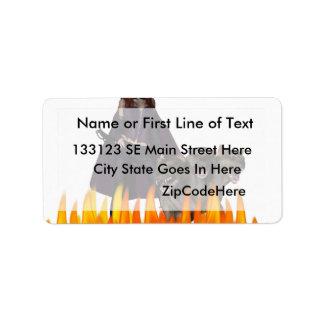Purple Female Vampire Three head dog in Fire Personalized Address Labels