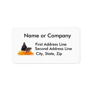 Purple Female Vampire Three head dog in Fire Custom Address Labels