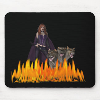 Purple Female Vampire Three head dog in Fire Mousepads