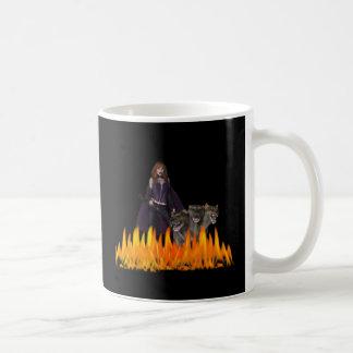 Purple Female Vampire Three head dog in Fire Mugs