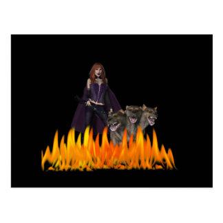 Purple Female Vampire Three head dog in Fire Postcard