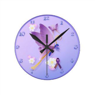 Purple Fibro Awareness wallclock