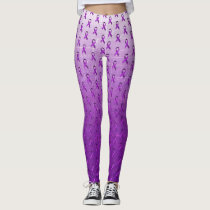 Purple Fibromyalgia Awareness Ribbons Leggings