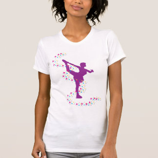 Purple Figure Skater with Stars T-Shirt