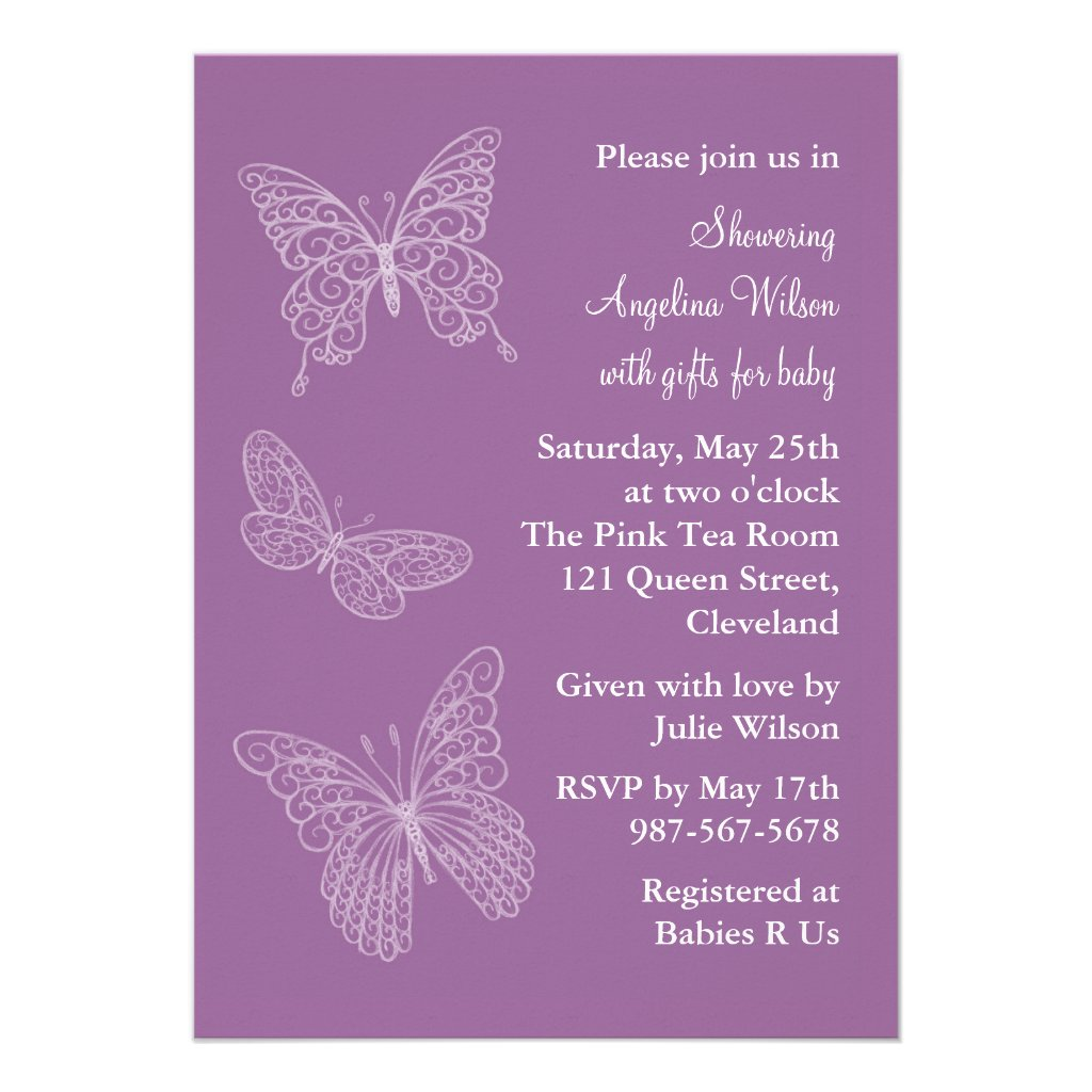 Purple Filigree Butterflies Custom Invites
