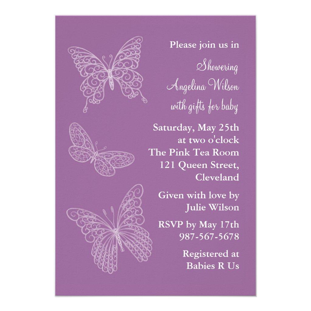 Purple Filigree Butterflies Custom Invites