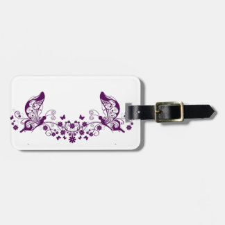 Purple Filigree Butterflies Tag For Bags