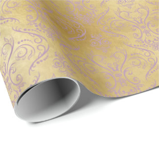 Purple Filigree Damask on Gold - Wrapping Paper