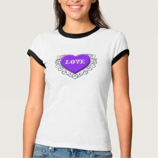 Purple Filigree Heart, Love T-Shirt