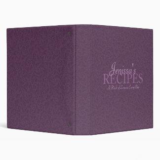 Purple Filigree Recipe Binder
