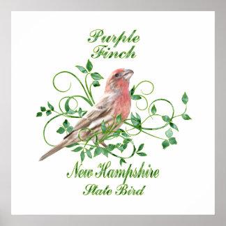 Purple Finch New Hampshire State Bird Poster