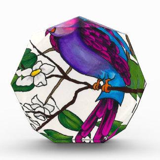 Purple Finch on Peach Blossom Branch Acrylic Award