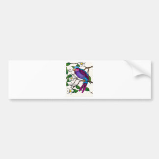 Purple Finch on Peach Blossom Branch Bumper Sticker