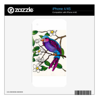 Purple Finch on Peach Blossom Branch iPhone 4 Decals