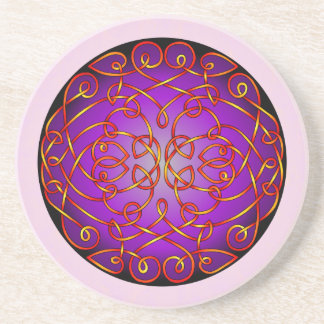 Purple Fire Celtic Art Curls Drink Coasters