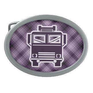Purple Fire Truck Oval Belt Buckle