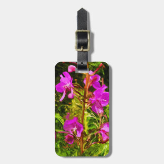 Purple Fireweed Alaska Wildflower Abstract Luggage Tag